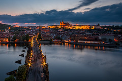 View of Charles Bridge from bridge tower (hjuengst) Tags: prag prague sunset sonnenuntergang bluehour blauestunde orange streetlight strasenlampe brücke bridge charlesbridge karlsbrücke clouds wolken nikond7200 moldau czechrepublic tschechien