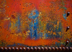 Riveted (StephenReed) Tags: riveted metal rust paint chippedpaint layers colors abstract art abstractart weathered nikond3300 stephenreed