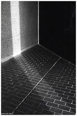 Brutal Geometry (peterphotographic) Tags: img002edwm brutalgeometry olympus om2n zuiko ©peterhall barbican barbicancentre cityoflondon london england uk britain film 35mm analog scanned blackandwhite blackwhitephotos bw monochrome jch streetpan400 japanesecamerahunter brutal brutalism geometry abstract light shadow tile floor urban concrete modernarchitecture modern architecture building corner