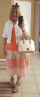 cremiex midi skirt and top DB white patent purse natutal wedgies