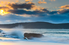 Sunrise Seascape with Clouds (Merrillie) Tags: daybreak sunrise nature dawn clouds centralcoast morning northpearlbeach sea newsouthwales rocks pearlbeach nsw sky rocky ocean earlymorning landscape australia coastal waterscape outdoors seascape waves coast water seaside
