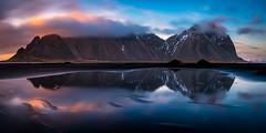 Blue and orange (modesrodriguez) Tags: stokksnes vestrahorn sunset iceland travel mountain panoramic sky blue orange sun clouds longexposure