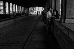 Shadows of intimacy (Sconsiderato) Tags: shadow sconsiderato scuro shadows bridge ponte ombre ombra dark darknes street strada streets bianco black bw biancoenero blackwhite nero canon eos people persone photo italia italy it young lights urban