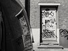 Street Art (weerwolfje) Tags: urban street streetphotography blackandwhite monochrome reflection streetart graffity olympusomdmark2