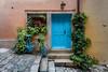 House Entrance in the Old Town of Rovinj (Bernd Thaller) Tags: rovinj istarskažupanija kroatien hr house door entrance flowers bicycle blue yellow orange plants