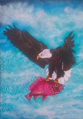 WILD LIFE. (tomas491) Tags: eagle fish mountains sky flying food wild clouds surreal freedom