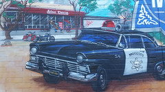 A shot out to George Lucas (radargeek) Tags: modesto ca california downtown jstreet thx1138 54 car mural policecar antiqueemporium jesuischarlie sale motorcycle grandfatherclock classic
