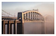 "GWR (Robgreen13) Tags: ""royalalbertbridge"" train devon cornwall saltash gwr sunrise misty fog landscape rivertamar"