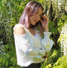"""Kew Gardens in Spring @ 19 May 2018 (SAT) - Girl at Giant Wisteria Tree (Kam Hong Leung 06) Tags: """"christinayao"""" kam """"kamhongleung"""" """"leungkamhong"""" kew """"kewgardens"""" 'unescoworldheritagesite' london richmond garden 'princessofwalesconservatory' """"waterlilyhouse"""" 'victoriagate' wisteria bee bumblebee chinese china latin columbia tree arboretum biodiversity """"glasshouse"""" conservation ecology environment nature plant flora fauna wildlife girl"""