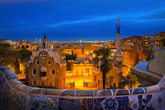 Park guell (anekphoto) Tags: barcelona spain guell park gaudi mosaic city architecture famous bench colorful europe catalonia landmark ceramic unesco antonio design art modern monument artistic catalan view parkguell night travel sunrise building outside fantasy cityscape creativity modernism imagination museum touristic mosaicwork blue architect pattern sightseeing urban garden tourism exterior town tile place cathedral