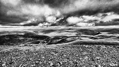 Back o' Skiddaw (Francis Mansell) Tags: mountain stony summit skiddaw lakedistrict moorland sky monochrome blackwhite filmgrain niksilverefexpro2 hill cumbria cloud