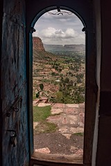 Church Door View (Rod Waddington) Tags: africa african afrique afrika äthiopien ethiopia ethiopian etiopia ethnic ethnicity ethiopie etiopian culture cultural orthodox church christianity christian coptic door valley tigray historical wooden mountains indoor stone