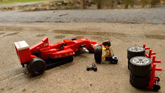 Time for wets (117/365) (robjvale) Tags: nikon d3200 adventurerjoe lego project365 f1 ferrari wheels tyres change pits trolley sport drive