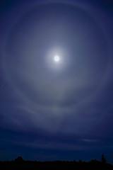 Quand la Lune s'amuse... (Mare Crisium) Tags: lune moon halo sky ciel nuit night silhouette bleu blue noir black nuages clouds groupenuagesetciel