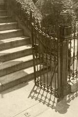 Ye olde iron gayte (Light Orchard) Tags: savannah georgia ga historic history ©2018lightorchard bruceschneider stairs steps staircase iron sepia monochrome monochromatic
