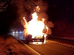 Car fire in Lucketts, Virginia (SchuminWeb) Tags: schuminweb ben schumin web february 2018 lucketts virginia va loudoun county fire fires flame flames car cars smoke smoky damage damaged kia soul 2012 suv plus crossover urban wagon four door alien green wheels rockville hersons xuv souls total totaled totalled writeoff write off destroyed destruction burning burned burnt auto automobile automobiles vehicle vehicles burn carfire carfires