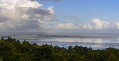 View over the Eastern end of the Manukau, mid-afternoon, autumn (Den Rob) Tags: ridgeview nikon d750 sigma 70mm f28 macro manukau titirangi reflections clouds