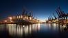 Containerbeladung (Stefan Zwi.) Tags: containerhafen night harbour hamburg flickrfriendsmeeting maersk waltershofen milanmaersk sunset blauestunde bluehour