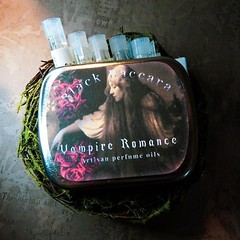 Darkly timeless. Our Vampire Romance perfume sample set featuring our Absinthe, Boneyard, Vampire Romance, Black Baccara, and Vena Cava perfume oils. Shop link in bio... (BlackBaccara) Tags: perfume art beauty fragrance indie goth perfumeoils conceptual