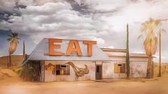 EAT (emiliopasqualephotography) Tags: diner rural ruraldecay halloranca california clouds