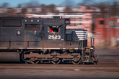 Rollin, rollin, rollin. (marko138) Tags: 38q emd harrispan harrisburg harrisburgline ns2523 norfolksouthern pennsylvania sd70 blur freighttrain locomotive mainline manifest mixedfreight pan railfan railroad railroadphotography slowshutter spartancab spring standardcab train