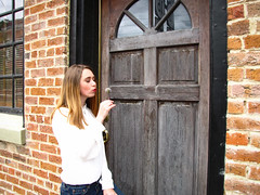 (lesheaphotography) Tags: downtown canton mississippi ms senior portraits door chair store tile black white red green rustic vintage stairs balcony flower dandelion wish flowers