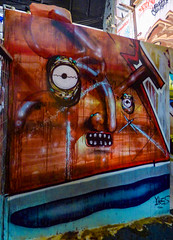 Thor Remastered (Steve Taylor (Photography)) Tags: yikes hammer eye teeth nose jacobyikes art abstract graffiti mural streetart tag brown blue red white man newzealand nz southisland canterbury christchurch city distorted ymca spectrum
