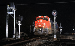Good Bye & Good Morning (GLC 392) Tags: cn canadian national ge et44ac gevo 3010 prlx 4835 emd sd70ace port huron mi eckles road flash photography night time q148 tri light signal signals replacement scrapped replaced container train railroad railway gtw grand trunk western goodells