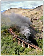 GMA Garratt No. 4072 with a mixed train in Houhoek Pass, South Africa. (johncheckley) Tags: steam loco train railway bridge gorge garratt southafrica