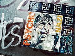 Horror Story (tim constable) Tags: potus president donaldtrump pysco nazi politics political horror film story hitchcock iconic famous troops soldiers protest statement london bricklane scream aghast emotional streetart poster pasteup scene showerscene outdoor gallery city urban invade military rightwing logo design uk