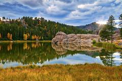 Sylvan Lake Reflections (William Horton Photography) Tags: blackhills custerstatepark southdakota sylvanlake sylvanlakedayusearea autumn fall granite horizontal reflections sunset water