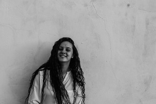 Black and white smile.