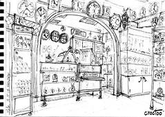 A l'horlogerie (Croctoo) Tags: croctoo croctoofr croquis crayon boutique commerce horlogerie pendule montre horloge magasin melle poitou poitoucharentes
