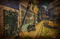 Just a Summer day (Milla DelRay) Tags: sl secondlife apocalypse cello bike bikes motorbike motorbikes wheel wheels fire burning car cars plane planes cellos summer sun shadow shadows