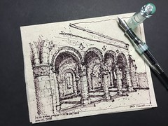 Kelso Abbey Cloister - Kelso, Scotland (schunky_monkey) Tags: penandink ink pen fountainpen illustration art drawing draw sketching napkinsketch sketch napkin arches columns walkway architecture europe scotland cloister church abbey kelsoabbey