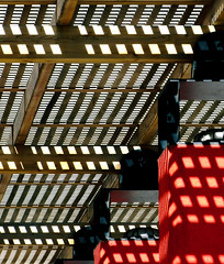 Pergola (chrisk8800) Tags: pergola columns bars woodenstructure light shadows barcelona architecture lines geometric
