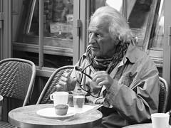 Le Petit Dejeuner (Professor Bop) Tags: man sidewalkcafe rivegauche leftbank paris france blackandwhite olympusem1 professorbop drjazz bw monochrome street candid portrait