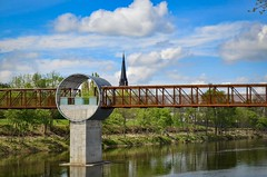 Grand River (mmollame18) Tags: bridge cambridge roof church sky grand river water clouds design circle