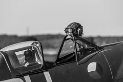 _DSC6672-8 (Ian. J. Winfield) Tags: shuttleworth oldwarden bedfordshire airshow plane aeroplane aircraft flight flying raf royalairforce military ww2 worldwar2 supermarine spitfire mkvc vc ar501 debut fighter merlin czechoslovakian czech 310 squadron helmet pilot black white monochrome blackandwhite