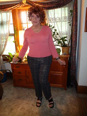 Just Your Typical Wisconsin Mom/Grandmother/Housewife (Laurette Victoria) Tags: leggings sweater redhead curly laurette woman housewife