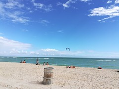 Of course Andrew found the section of beach with kite surfing.