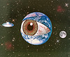 pe (woodcum) Tags: planet eye ufo flying saucer moon space cosmic cosmos stars surreal collage retro grain color