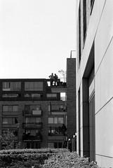 The gentry (onemanifest) Tags: gentry gentrification amsterdamwest apartmentbuilding replace renew architecture expensive film analog monochrome blackwhite minoltaxd7 ilforddelta100 contrast sunlight sunny silouette people balcony minoltamdrokkor85mm117