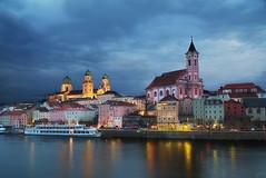 Passau Churches (johaennesy) Tags: bluehour blue passau bayern bavaria germany deutschland opensourcesoftware gimp rawtherapee pentaxian