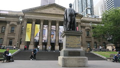 State Library of Victoria with the Sir Redmond Barry statue out the front, Melbourne city in May 2018, Victoria, Australia. (Michael J. Barritt) Tags: citystreets streetart melbourne city may 2018 victoria australia