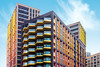 Happy Town (DobingDesign) Tags: architecture buildings windows balconies colours cladding london londonarchitecture highrise storeys residential floors colourful vibrant happy red yellow warm warmtones lines geometric blocks patterns repeatingpattern zigzag