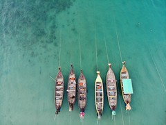 Long Tail Boats Tied up for Low Tide - Drone (Ryan.Kartzke) Tags: longtail boats tropics drone dji mavic air sea green blue clear thailand phuket kamala beach kammala postcard dronography low tide anchored anchor rope