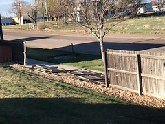 April 17, 2018 - Wind claims a fence in Thornton. (Debbie Shannon)