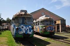 Two Fiat railcars at Mandas (TrainsandTravel) Tags: italy italia italie italien sardinia sardaigne sardinien sardegna narrowgauge voieetroite schmalspurbahn dieselrailcar triebwagen autorail 950mm arst trasportiregionaledellasardegna mandas