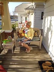Spring Is In The Air . . . (Laurette Victoria) Tags: porch sweater dress pumps floralprint blonde laurette woman